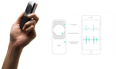 DUO combines EKG and electronic stethoscope technology into a portable, handheld device for insight into cardiac function. Photo courtesy Eko Devices