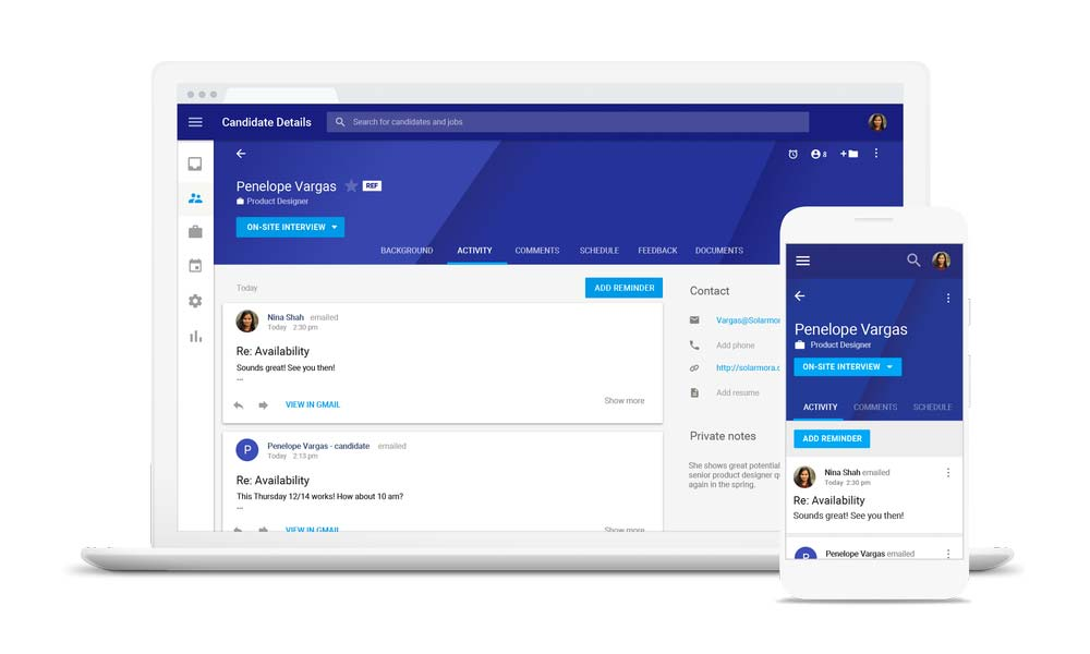 Google Hire is a recruiting app that integrates with G Suite