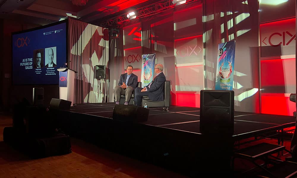 Mark McQueen (right), President & Executive Managing Director of CIBC Innovation Banking, and Gregg Ames, Chief Sales Officer of Conversica, at the Canadian Innovation Exchange in Toronto.