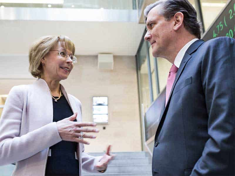 Nancy McKinstry, CEO of Wolters Kluwer, talks with CFO Kevin Entricken. - Image courtesy Wolters Kluwer